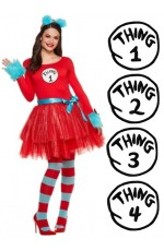 Women & Kids Dr Seuss Cat In The Hat Thing Costume set