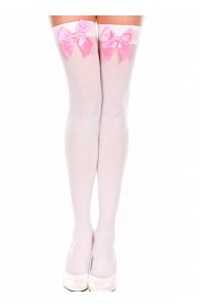 White Tight High Stockings With Pink Bow