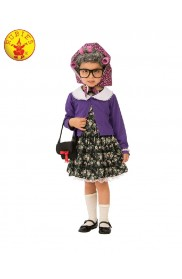 Grandma Old Lady Woman Granny Mother Child Cosplay Costume Party Kids Outfit