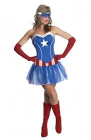 Captain America Costumes - Ladies American Captain Woman Super Hero Fancy Dress Halloween Superhero Licensed Costume