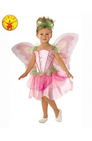 Springtime Pink Fairy Fairytale Pixie Girls Fancy Dress Fairies Childs Kids Costume Wings