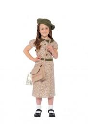 Kids Girls War Time 40s Historical WW2 Evacuee School Girl Fancy Dress Costume Book Week