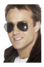 Gold Aviator Specs Pilot Captain 1980's 80s Top Gun Sunglasses Police Fancy Dress Costume Accessories