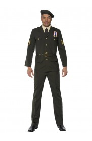 army and FBI costume - Adult Mens Wartime Officer Male Army Smiffys Fancy Dress Costume