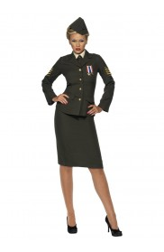 Army and FBI Cosutmes - Womens Wartime Officer Army Military Uniform Fancy Dress Costume Outfit Retro 40s 1940s Army WW2 Officer Ladies Vintage