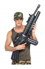 Army And FBI Cosutmes - Licensed Inflatable Machine Gun Prop Gangster Costume Toy Gun Fancy Dress Accessory Halloween 112Cm Mens Army Military Soldier Fancy Dress Smiffys