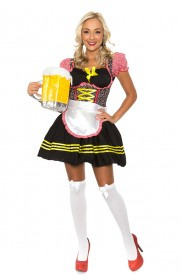 Oktoberfest Costumes - Ladies Beer Maid Oktoberfest Wench German Heidi Fancy Dress Bavarian Costume