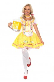 Oktoberfest Costumes - Ladies Beer Maid Costume Oktoberfest Bavarian Wench German Heidi Fancy Dress