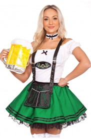 Girls Oktoberfest Beer Maid Green Costume lg204green