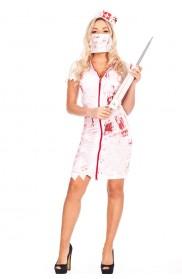 Ladies Halloween Bloody Zombie Nurse Dress Costume
