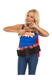 Oktoberfest Costumes Australia - Adult Oktoberfest Super Six-Pack Beer Girl Hero Superhero Halloween Fancy Dress Costume