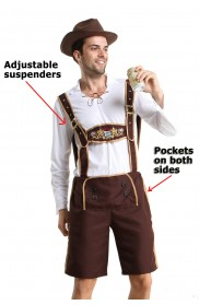 Mens Lederhosen Oktoberfest Costume with Hat front lh202N