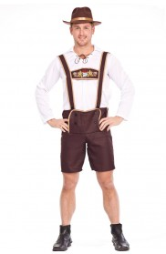 Mens Lederhosen Oktoberfest Costume With Hat lh202