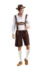 Mens Lederhosen Oktoberfest Costume with Hat + stocking front