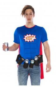 Oktoberfest Costumes Australia - Adult Oktoberfest Super Six-Pack Beer Man Hero Superhero Halloween Fancy Dress Costume