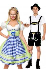 Couple Lederhosen Dirndl Oktoberfest German Costume lh214+lh324g