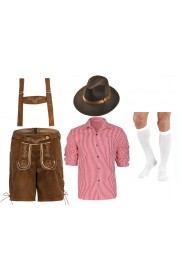 Mens Brown Lederhosen German Costume full set