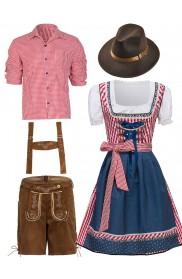 Couple Lederhosen Oktoberfest Alpine Costume lh220r+lh326r