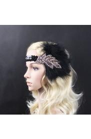 1920s Headband Black Feather Flapper Headpiece