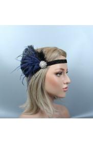 1920s Headband Black Feather Great Gatsby Flapper Headpiece