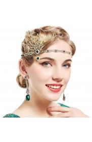 1920s Green Headband Vintage Bridal Great Gatsby Flapper Headpiece