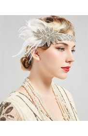 20s Headband Feather Vintage Bridal Great Gatsby Flapper Headpiece
