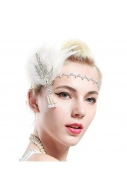 1920s White Feather Flapper Headpiece