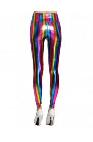 1980s 90s Neon Rainbow Leggings Disco Fluro Metallic Pants