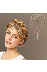 Deco White Vintage Hairband 20s Flapper Chain Headband