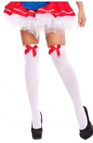 White Tight High Stockings With Red Bow