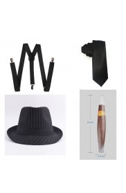 Black Mens 1920s 20s Gangster Set Hat Braces Tie Cigar Gatsby Costume Accessories