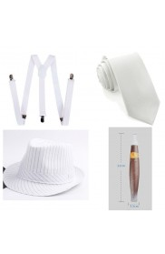 White Mens 1920s 20s Gangster Set Hat Braces Tie Cigar Gatsby Costume Accessories