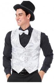 Unisex Silver Sequin Vest Waistcoat 80s Disco Dance Party Show Costume