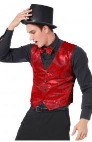 Unisex Red Sequin Vest Waistcoat 80s Disco Dance Costume