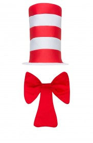 Kids Stripe Cat in the Hat Bow Tie Children Accessories Boys Girls Book Week Dr Seuss