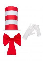 Adult Stripe Cat in the Hat Bow Tie Gloves Children Accessories Boys Girls Book Week Dr Seuss