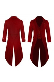 Red Mens Steampunk Vintage Tailcoat Jacket Gothic Victorian Frock Coat
