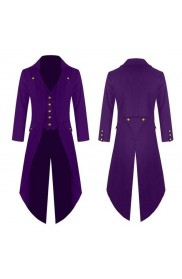 Purple Mens Steampunk Tailcoat Jacket Gothic Victorian Frock Coat