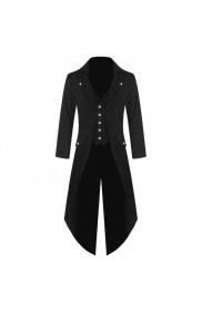 Black Mens Steampunk Frock Coat Business Suit