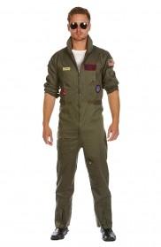 Mens Aviator Costume Pilot Flight 80's Film Suit Pete Mitchell Maverick