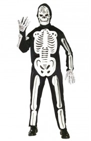 Mens Skeleboner Skeleton Halloween Fancy Dress Costume Adult Outfit + Mask