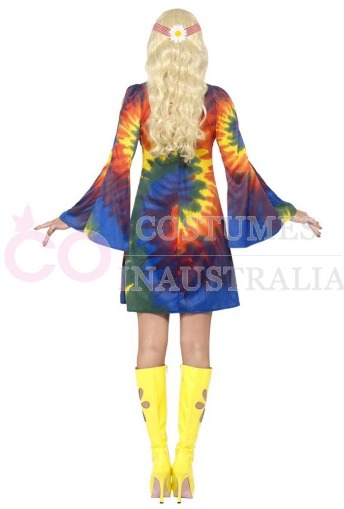 Licensed Ladies Tie Dye 60s 70s Retro Hippie Go Go Girl Disco Costume Outfit