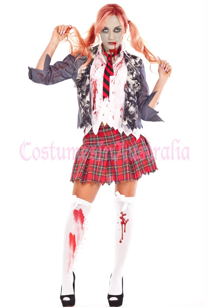 ladies halloween zombie bloody school girl costume fancy