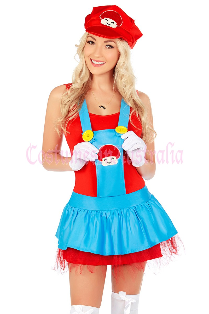 Shiv Naresh Teens Boxing Gloves 12oz: Womens Super Mario Luigi Brothers Plumber Fancy Dress Up