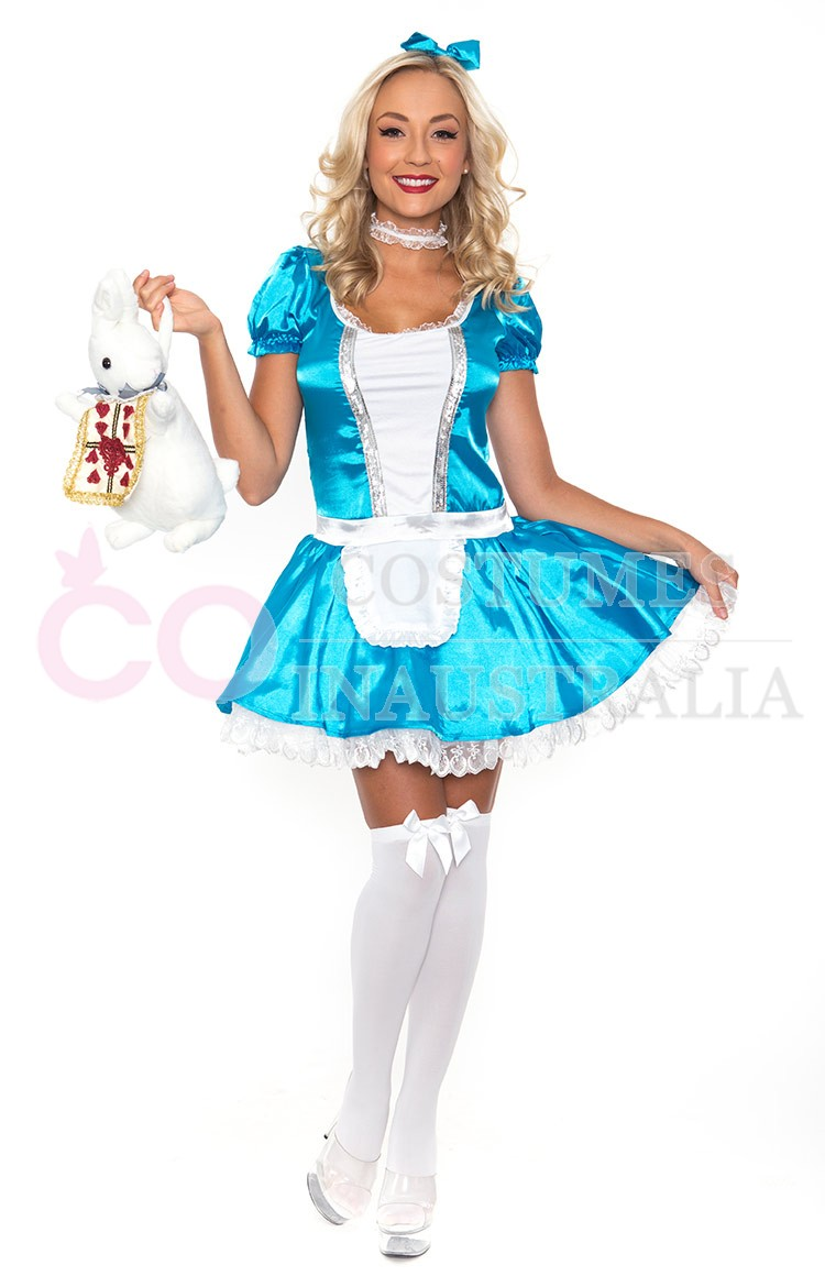 Ladies Alice In Wonderland Fancy Dress Halloween Ful Outfit Disney ...