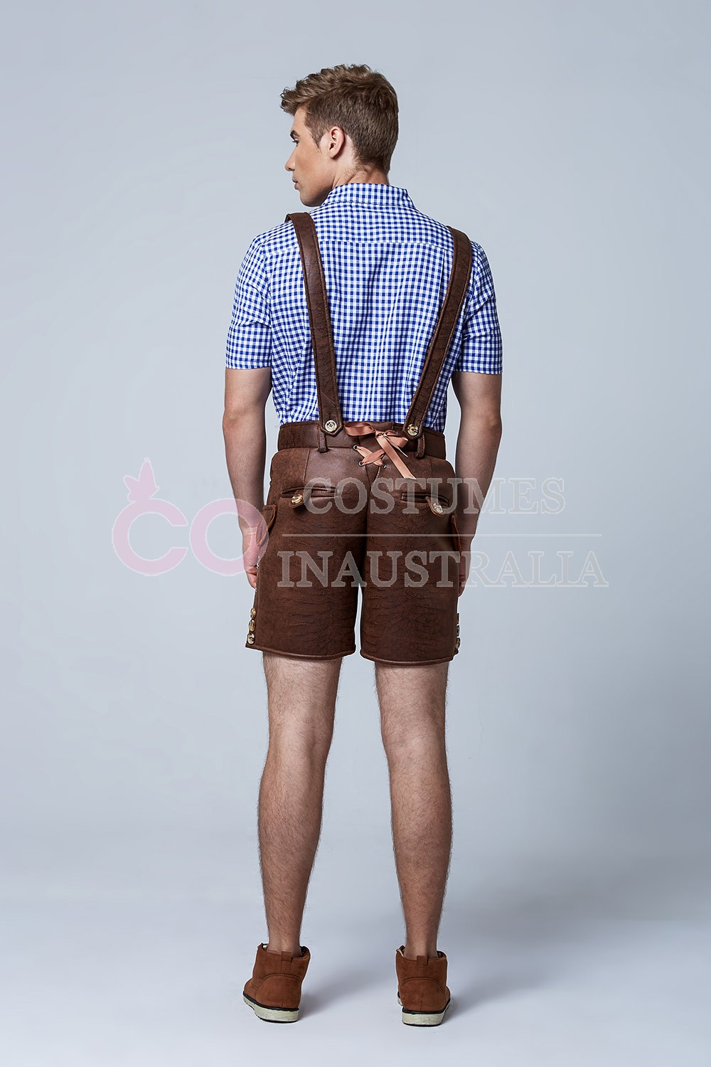 Mens Lederhosen Oktoberfest German Fancy Dress Costume Pu