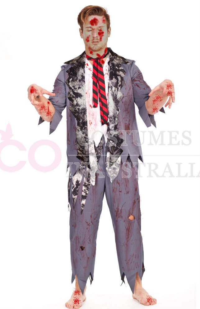 Mens Halloween Zombie Bloody Horror Costume Fancy Dress