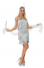 1920 flapper costumes Australia - Ladies 20s 1920s Charleston Flapper Grey Chicago Fancy Dress Costume Cigarette Holder
