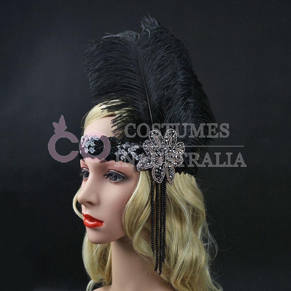 1920s headband vintage bridal gatsby 20s flapper feather. Black Bedroom Furniture Sets. Home Design Ideas