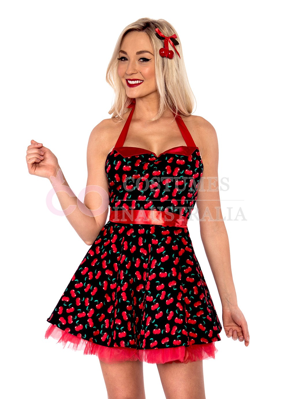 Ladies 50s 1950s Cherry Pinup Costume Hop Diva Rock Polka ...